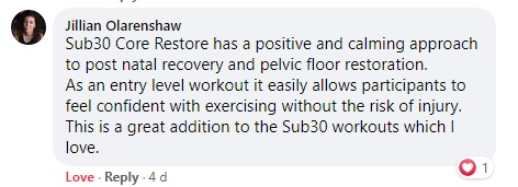 Core Restore Workout Testimonial_Jillian Olarenshaw